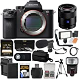 Sony Alpha A7R II 4K Wi-Fi Digital Camera Body with T FE 55mm f/1.8 Lens + 64GB Card + Battery + Charger + Case + Flash + LED + Tripod + Kit