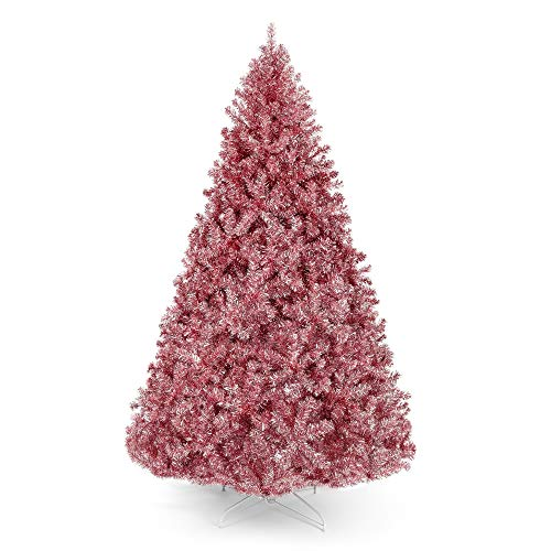 Best Choice Products 6ft Artificial Tinsel Christmas Tree Seasonal Holiday Decoration w/ 1,477 Branch Tips, Foldable Stand, Pink (Tree Christmas Rose Red)