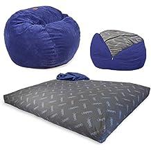 CordaRoy's - Navy Chenille Convertible Bean Bag Chair - Full
