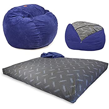 CordaRoyu0027s   Navy Chenille Convertible Bean Bag Chair   Full