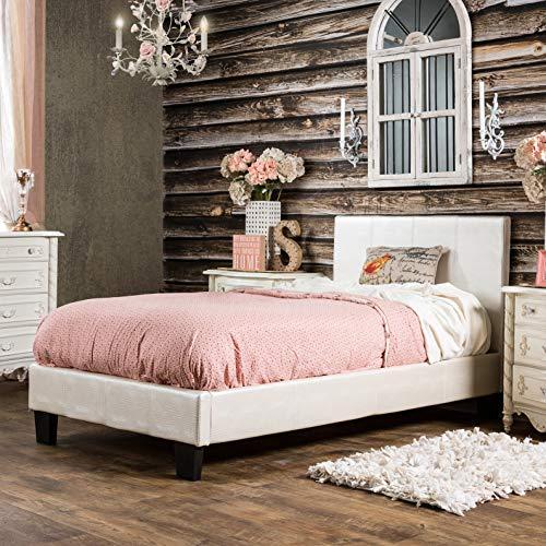 Furniture of America Huntress III Pearl White Crocodile Leatherette Platform Bed Pearl Full