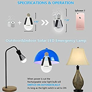 Portable Solar LED Light Bulb - Flyhoom FL400-1 Emergency Lamp For Outdoor, Indoor, Camping, Power Outage, 7W, 420lm, White, Pack of 1