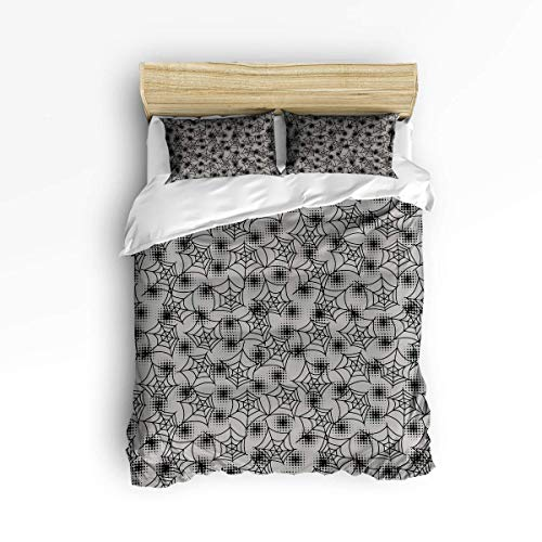 LanimioLOX 3 Piece Bedding Set, Halloween Symbols Happy Holiday Spider Web on Grey Backdrop, 3 pcs Duvet Cover Set Bedspread Daybed for Childrens/Kids/Teens/Adults King -