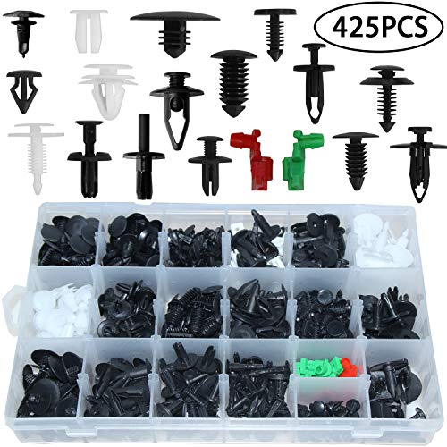 Auto Clips Car Body Retainer Assortment Clips Car Trim Fasteners Clips Tailgate Handle Rod Clip Push Rivets Plastic 19 MOST Popular Sizes Car Clips 425PCS For GM Ford Chevy Toyota Honda Chrysler