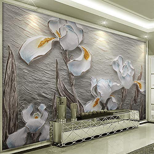 Custom Mural Resin Embossed Phalaenopsis Non-Woven Wallpaper Roll Bedroom Parlor Sofa Background Home Decor Papel Pintado Pared cchpfcc-400X280CM (Parlor Sofa)