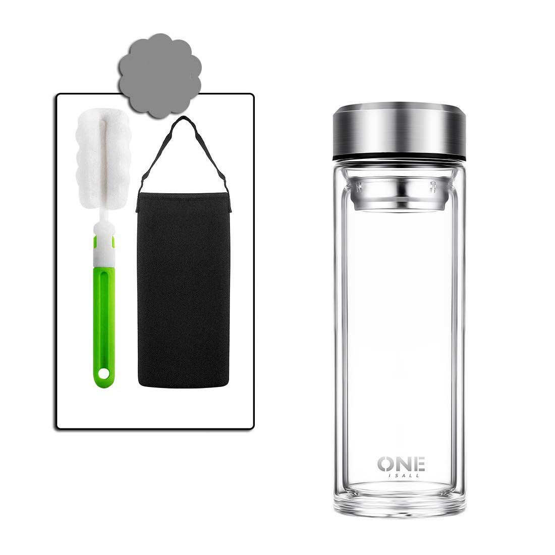ONEISALL Glass Water Bottle, Double Walled Travel Mug with Removable Stainless Steel Infuser - Glass Tea and Coffee Tumbler with Sleeve Carrier, Lead-Free (600ml/20 oz)