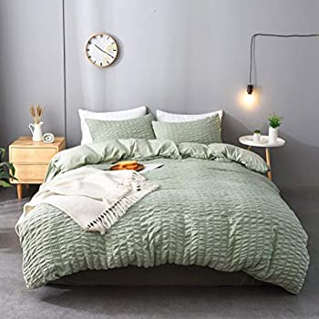 M&Meagle 3 Pieces Green Duvet Cover Textured Set with Zipper Closure,100% Washed Microfiber Seersucker Fabric,Luxury Hotel Quality Bedding-Queen Size(1 Duvet Cover 2 Pillowcases)