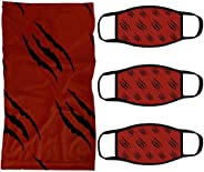 Raptors Neck Gaiter Set With Claw Inspired by the Toronto NBA Team | Face Covering Scarf and Cloth Mask Set of