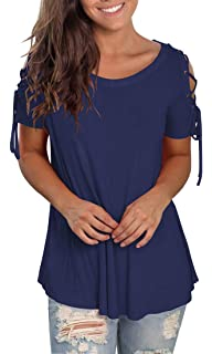f0428337669c Jescakoo Women s Short Sleeve Cut Out Cold Shoulder Tops Deep V Neck T  Shirts