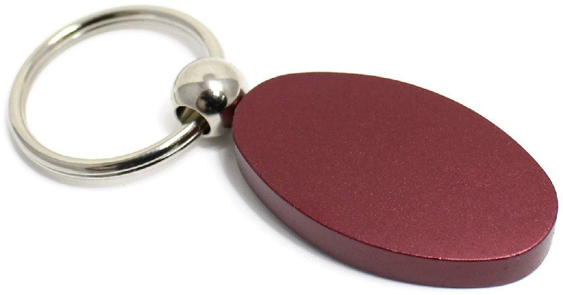 Burgundy Aluminum Metal Oval Honda Accord Logo Key Chain Fob Chrome Ring