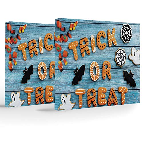 (iPrint Framed Wall Art,Vintage Halloween,Each Panel has Hook Already Mounted on The Wooden bar Easy Hanging,Trick Treat Cookie Wooden Table Ghost Bat Web)