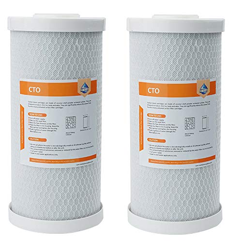 5 Micron Carbon Block Water Filter Cartridge, MS Whole House CTO Coconut Shell Replacement Filter Cartridge 10