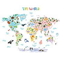 Decowall DLT-1615 Animal World Map Kids Wall Decals Wall...
