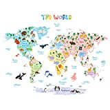kids bedroom sticker wall murals Decowall DLT-1615 Animal World Map Kids Wall Decals Wall Stickers Peel and Stick Removable Wall Stickers for Kids Nursery Bedroom Living Room (XLarge)