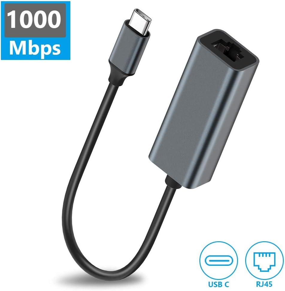 GlobaLink Adaptador USB C a Ethernet, RJ45 a USB C Gigabit Ethernet 1000Mbps Cable Adaptador de Red, Compatible con iPad Pro 2018,MacBook Pro 2019/2018/2017,MacBook,Surface Book 2 y más-Gris Espacial: Amazon.es: Electrónica