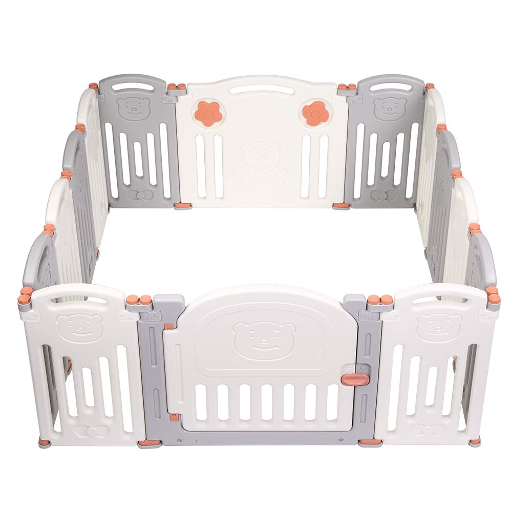 Green+White+Grey Kids Safety Play Yard with Activity Wall and Lock Gate Moromuu Baby Playpen 22 Panel Childrens Fence for Indoor Outdoor Use Large Activity Centre for Baby Boys Girls Toddlers