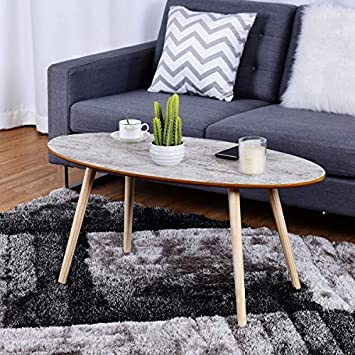 Giantex Oval Coffee Table Modern Sofa Side Table Accent End Table w Solid Wood Legs Home Living Room Furniture