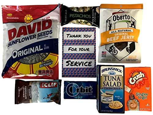 High-Protein Snack Pack For Military Service Members! Oberto Beef Jerky, Tuna & Crackers, Pistachios, Clif Bar, David Sunflower Seeds, Orbit Gum, and Crush Drink Singles! Send Fuel To Your -
