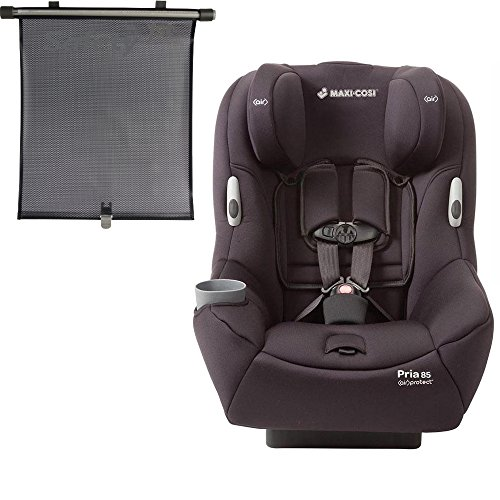 Maxi Cosi Pria 85 Convertible Car Seat with BONUS Retractable Window Sun Shade (Devoted Black)