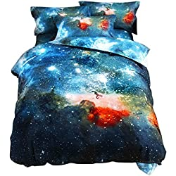 uxcell 3D Bedding Sets Bedlinen Mysterious Galaxies Sky Starry Cosmos Night Duvet Cover Set, Queen Size 3 Pieces Multicolor