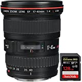 Canon 8806A002 EF 17-40mm F/4 L USM Lens + Sandisk Extreme PRO SDXC 128GB UHS-1 Memory Card
