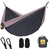 Hammock for Camping Single & Double Hammocks - Top Rated Best Quality Gear For The Outdoors Backpacking Survival or Travel - Portable Lightweight Parachute Nylon SO Charcoal Rose