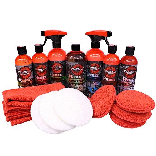 Ultimate Liquid Detailing Kit Which Includes a Liquid Metal Polish, Spray Wax, Liquid Wax, Rubber & Vinyl, Wash N' Wax, Chrome Cleaner, Wheel Protectant and Plenty of Microfibers