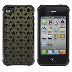Fuerte Suave TPU GEL Caso Carcasa de Protección Funda para Apple Iphone 4 / 4S / Business Style Grunge Star Pattern