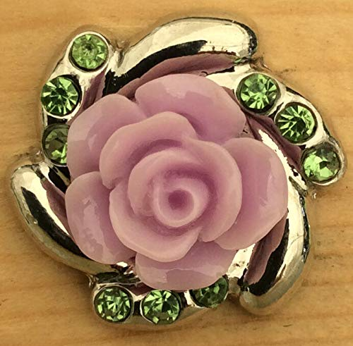 Snap.Chunk Button 20mm Purple Flower Charm for Ginger Snap Style Jewelry SE-2516