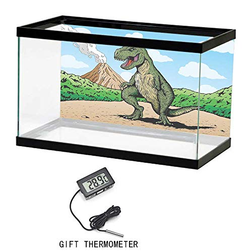 (Fish Tank Background, Dinosaur, Giant Lizard T Rex on Active Volcano Untouched Jungle Backdrop, Green Light Brown Light Blue, 24