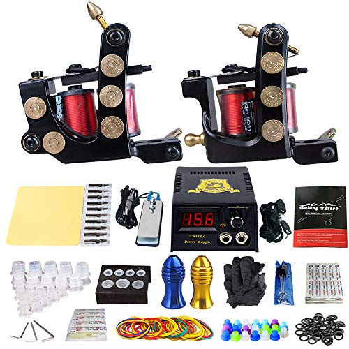 Tattoo Machine Kits Power Supply Foot Pedal Needles Grips Body Arts Tattoo Supplies Beginner Set, TK202-26 from My's Beauty