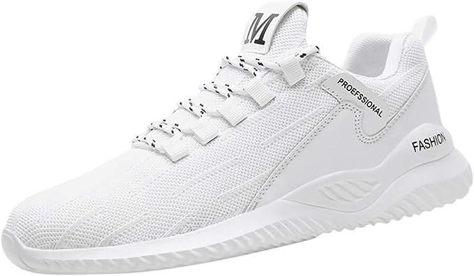 Poamen - Zapatillas de Running Unisex de caña Baja, Transpirables, Resistentes al Desgaste, Color Beige, Talla 39 2/3 EU: Amazon.es: Zapatos y complementos