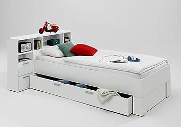 Trend Moebel Bett 90x200 Incl Schubkasten Regal Kinderzimmer Jugendzimmer Weiss