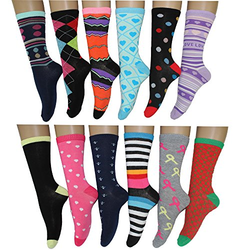 12 Pack Women Colorful Patterned Fashion Crew Socks by Frenchic (Blue Love)