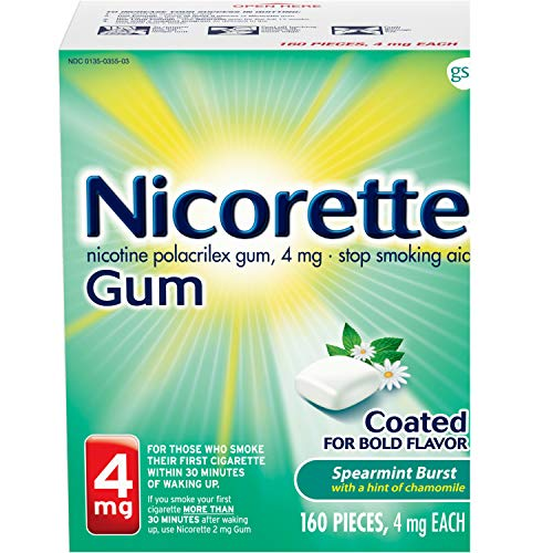 Nicorette 4mg Nicotine Gum to Quit Smoking – Spearmint Burst Flavored Stop Smoking Aid, 160 Count