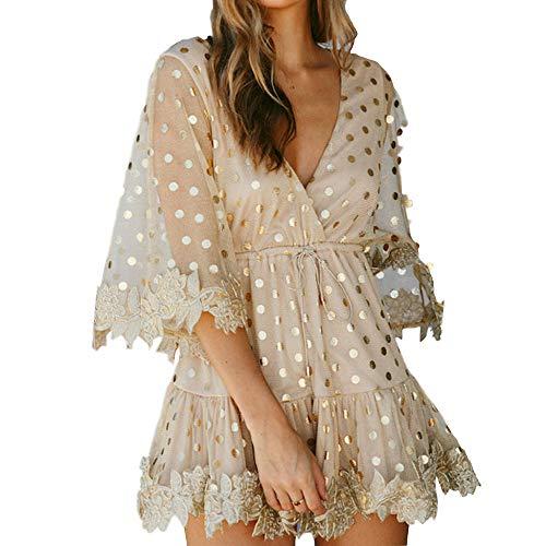 (Womens Dresses V Neck Three Quarter Sleeve Gold Dot Sequin Print Floral Trim A Line Elegant Summer Mini Dress (S, Gold))