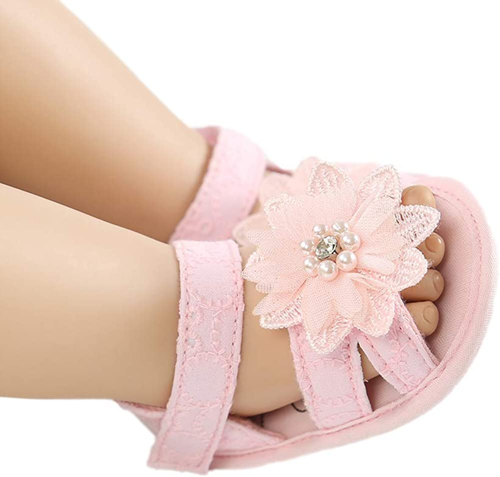 Infant Toddler Baby Girls Lace Beads Floral Summer Princess Mary Jane Shoes Sandal with Floral Headband