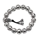 Jade Angel Retro Jewelry Sterling Silver Bead Couples Bracelets Engraved Words