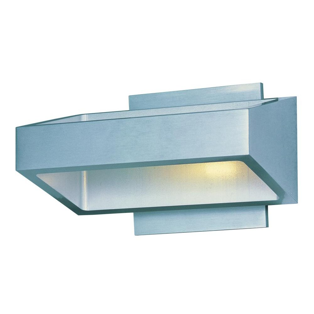 ET2 E41302-SA Alumilux LED Outdoor Wall Sconce, Satin Aluminum Finish, Glass, PCB LED Bulb, 18W Max., Damp Safety Rated, 3000K Color Temp., Standard Triac/Lutron or Leviton Dimmable, Shade Material, 5100 Rated Lumens