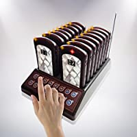 NOLAS 16 Restaurant Call Coaster Pagers/ Guest Waiting Pager / Wireless Paging System With Charging Dock and Transmitter (Also Available In 32/48 units)