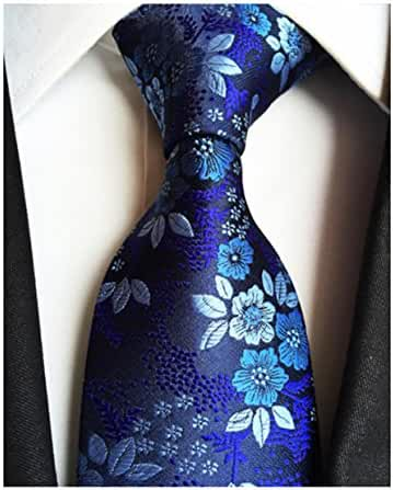 MENDENG Classic Navy Blue Paisley Jacquard Woven Silk Men's Tie Party Neckie