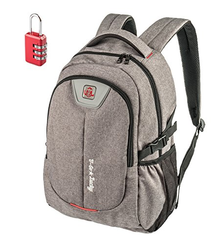 U-Go-Lucky Unisex Laptop Backpack for College Students, Travelers, Commuters, Explorers & Gym Goers, Durable, Padded, Wear-Resistant Universal Grey Computer Bag for Men or Women + Bonus Code Lock