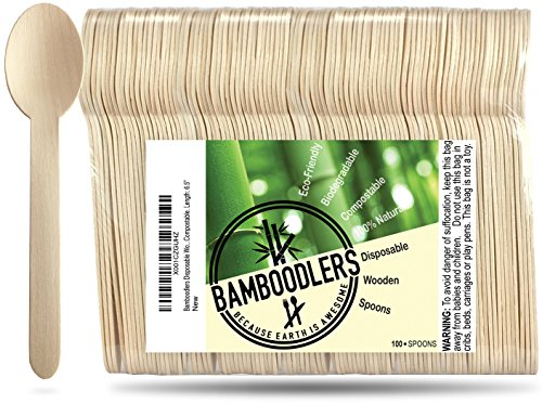 Bamboo Forest Bowl - Disposable Wooden Spoons by Bamboodlers | 100% All-Natural, Eco-Friendly, Biodegradable, and Compostable - Because Earth is Awesome! Pack of 100-6.5