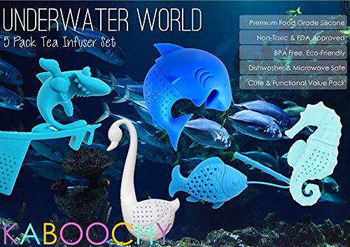 UnderWater World 5 Pack Silicone Tea Infusers, Reusable Cute Loose Leaf Tea Diffuser Strainer Gift Pack. Includes Fish, Seahorse, Swan, Shark & Surfing Shark by KABOOCHY by KABOOCHY (Image #1)