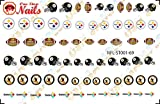 steelers game Pittsburgh Steelers Waterslide nail decals (Tattoos) V1 (Set of 69)