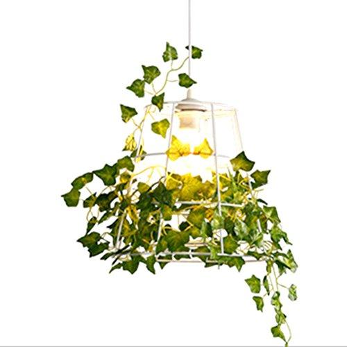 LEDMOMO Modern Hanging Light Ceiling Lamp with Artificial Plants Style E27 Lamp Base, Bird Cage Lighting Fixture Iron Pendant Lamp for Bar Restaurant Hallway Dining (Base Lamp Birdcage)