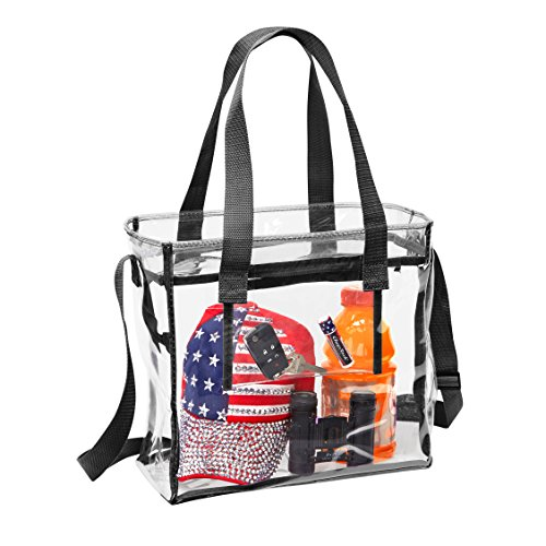 Deluxe NFL Stadium Approved Clear Bag with Adjustable Shoulder Strap and Handles / 12 x 12 x 6