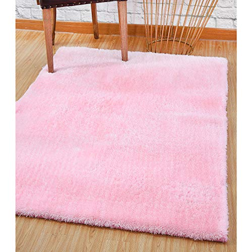 (LOCHAS Ultra Soft Indoor Area Rugs 5.5 cm Thick Shaggy Fashion Color Bedroom Living Room Carpets Suitable for Children Home Decor Baby Nursery Rugs Footcloth 4' x 5.3' (Pink))