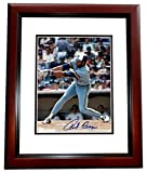 Autographed Cecil Cooper Photo - 8x10 MAHOGANY CUSTOM FRAME - PSA/DNA Certified - Autographed MLB Photos