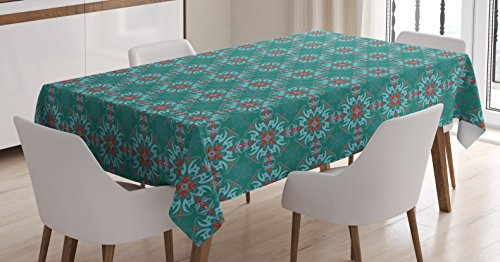 (Ambesonne Vintage Tablecloth, Traditional Vibrant Tile Pattern Abstract Spanish Motifs, Dining Room Kitchen Rectangular Table Cover, 52 W X 70 L Inches, Jade)